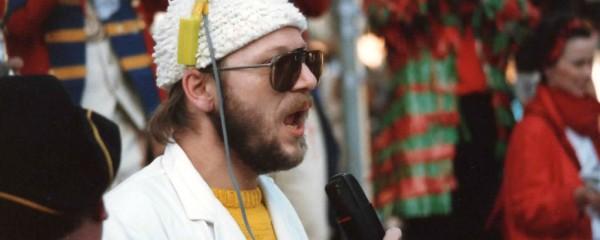 Ed Leunissen voor START RADIO tijdens Carnaval 1985. foto : Jean-Paul Linnartz
